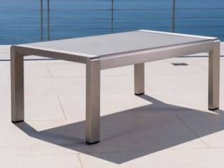 Cape Coral Outdoor Aluminum Tempered Glass coffee table by Christopher Knight Home  Grey