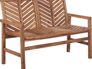 48  Solid Acacia Wood Chevron Outdoor loveseat Bench   Brown