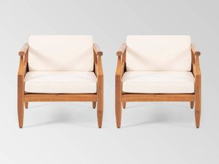 Aston Outdoor Mid Century Modern Acacia Wood Club Chair With Cushion by Christopher Knight Home  Teak Finish   Cream Cushion  only one chair
