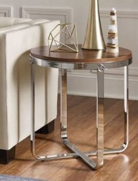 Merritt Chrome Finish Frame Wood Top End Table By Inspire Q Silver Modern   Cont