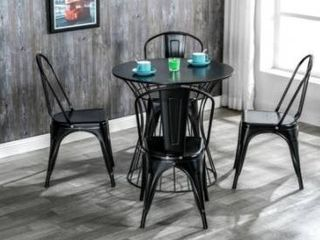 Industrial style iron patio dining chair  set of 4