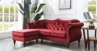 Hollywood Velvet Sofa with Reversible Chaise  Box 2 of 3  cushions and legs