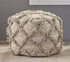 Jucar handcrafted boho wool and cotton pouf