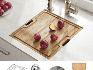 KRAUS Kore Workstation 17 inch Undermount 16 Gauge Single Bowl Stainless Steel Bar Kitchen Sink with Accessories  Pack of 5