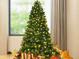 Gymax Pre lit PVC 7  Artificial Christmas Tree Hinged lED lights Metal Stand  lights do not work