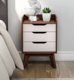 Carson Carrington Borlange Mid century White and Walnut 3 drawer Nightstand Retail 109 99