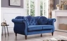 Hollywood velvet loveseat navy blue   sides and two cushions and two round pillows  Box 2 of 2