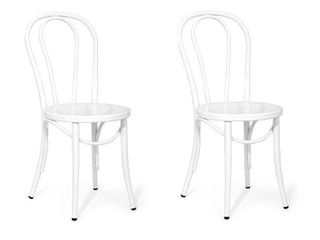 Set of 2 Ellie Bistro Dining Chair White   Reservation Seating by Ace Bayou