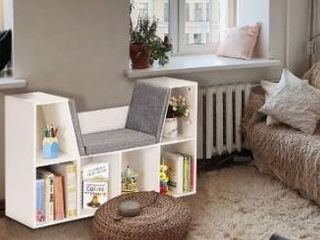 6 cubby kid storage cabinet bookcase white