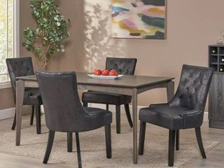 1 chair  no legs  Hayden Contemporary Tufted Microfiber Dining Chair by Christopher Knight Home  Slate   Espresso