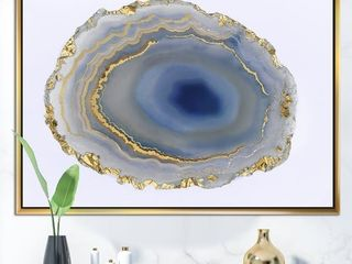 Designart Golden Water Agate Fashion Framed Canvas Wall Art Retail 149 49
