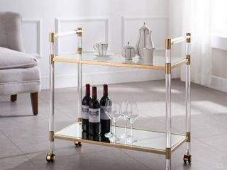 Tanisto Acrylic and Gold Bar Cart Retail 289 99