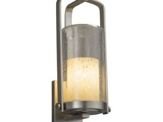 Brushed Nickel Justice Design Fusion Atlantic 1 light Outdoor Wall Sconce  Droplet Cylinder Flat Rim Shade Retail  142 99