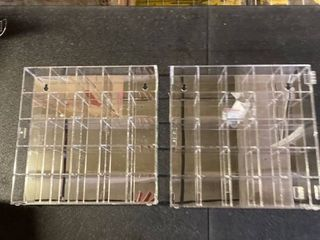 Clear Hanging Shelves  One is broken but can be glued back together  SET OF 2