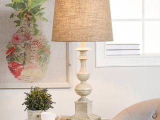 Distressed Off White Cream The Gray Barn Willowsun Distressed Off White Candlestick Footed Table lamp