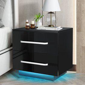 RGB lED 2 Drawer Nightstand End Table White Black Retail 97 99