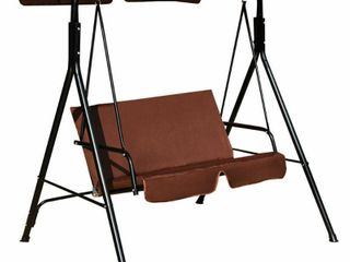 Coffee 2 Person Canopy Swing Outdoor Patio Swing Cushioned loveseat Retail  141 99