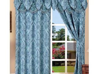 Elegant Comfort Penelopie Jacquard look Curtain Panel Set  54 by 84 Inch  Blue  Set of 2