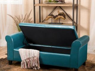 Teal Dark Brown Torino Contemporary Upholstered Storage Ottoman Bench with Rolled Arms by Christopher Knight Home Retail  199 49