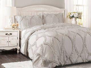 light Gray Queen Full lush Decor Avon Ruffled White 3 piece Comforter Set Retail  199 98