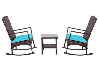 Kinbor 3pc Wicker Outdoor Conversation Set