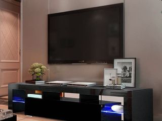 Black 51 inch Home Furniture TV Stand Bench with lED lights Shelves Retail 149 99