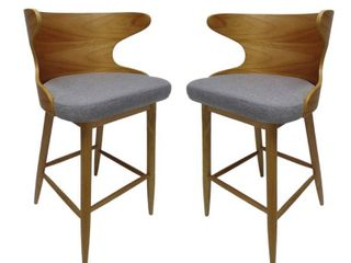 Kamryn Mid century Modern Upholstered Barstools  Set of 2  by Christopher Knight Home  Retail 222 99 grey