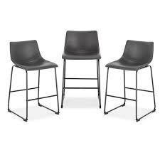 EdgeMod Brinley Steel Counter Stools  Set of 3  Retail 352 49 grey with black legs