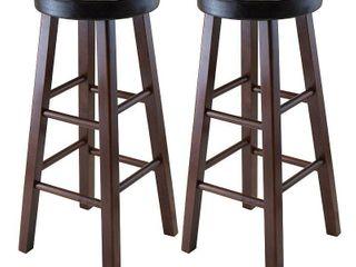 Marta Set of 2 Round Bar Stool  PU leather Cushion Seat  Square legs  Assembled Retail  89 49