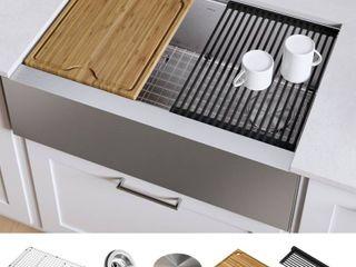 KRAUS Kore Workstation Farmhouse Apron Stainless Steel Kitchen Sink  Retail 469 95