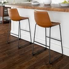 Carbon loft Prusiner Faux leather Counter Stool  Set of 2  Retail 173 49 whiskey brown