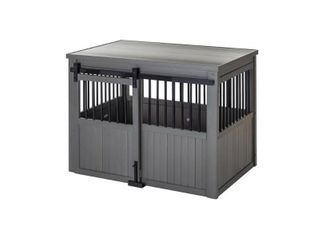large Grey ECOFlEX Homestead Sliding Barn Door Dog Crate Retail  399 99