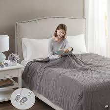 Beautyrest Electric Micro Fleece Heated Solid Blanket king grey
