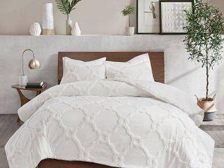 White Full Queen Madison Park Nollie Tufted Cotton Chenille Geometric Duvet Cover Set Retail  88 99