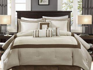 Beverly Queen 7pc Comforter Set Taupe Brown