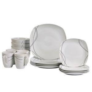 Alec 16pc Soft Square Porcelain Dinnerware Set white