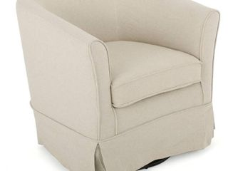 Cecilia Beige Fabric Swivel Club Chair by Christopher Knight Home  Retail 188 49