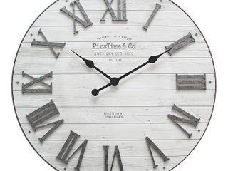 FirsTime   Co  Emmett Farmhouse Shiplap Wall Clock  American Crafted  Silver Galvanized  Plastic  27 x 2 x 27 in