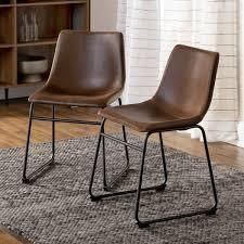 Carbon loft Inyo PU leather Dining Chairs  Set of 2  Retail 119 99 brown