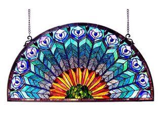 CHlOE lighting REGAl EUDORA Tiffany style Peacock Feather Glass Window Panel 35x18