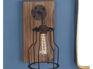 11 x 6  Farmhouse 11 x 6 Inch Wood and Metal Gl lED Wall Sconce by Studio 350