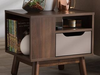 Mid Century Brown and Grey 1 Drawer Nightstand by Baxton Studio  Retail 117 99