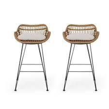 Dale Wicker Barstools with Cushions  Set of 2  by Christopher Knight Home  Retail 248 99 light brown black and beige
