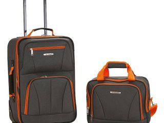 Rockland Fashion 2pc luggage Set   Charcoal  Grey