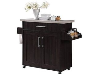 Hodedah Wheeled Kitchen Island with Spice Rack and Towel Holder  Chocolate Gray