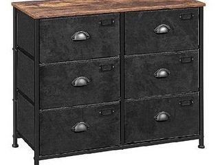 SONGMICS Fabric Drawer Dresser  Wide Storage Dresser with 6 Drawers  Industrial Closet Storage Drawers  with Metal Frame  Wooden Top  for Closet  Hallway  Nursery  Rustic Brown and Black UlVT23HV1