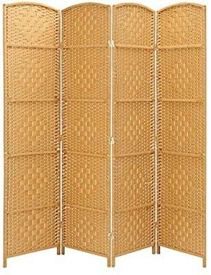 Rose Home Fashion RHF 6 ft Tall 15 7  Wide Diamond Weave Fiber 4 Panels Room Divider 4 Panels Screen Folding Privacy Partition Wall Room Divider Freestanding 4 Panel