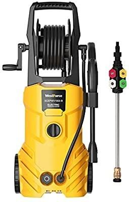 WestForce Electric Pressure Washer  3000 PSI 1 85 GPM Power Washer  1800 W High Power Cleaner with 5 Nozzles  Hose Reel  Detergent Tank Ideal for Car  Home  Garden