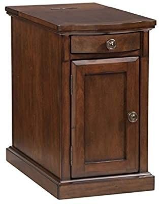 Signature Design by Ashley laflorn Chairside End Table with USB Ports   Outlets   Medium Brown DAMAGED