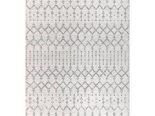 JONATHAN Y Moroccan HYPE Boho Vintage Diamond Cream Gray 8 ft  x 10 ft  Area Rug   7 9  X 10